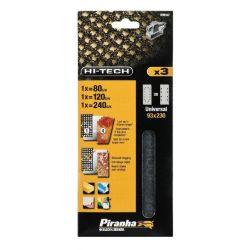 Black & Decker Piranha X39067 Pack of 3 93mm x 230mm Third Sheet Mesh Sanding Sheet 80g 120g 240g