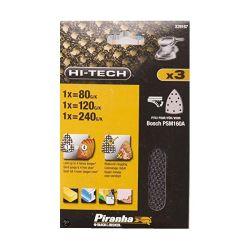 Black & Decker Piranha X39167 Pack of 3 80g 120g 240g Velcro Mesh Sheet Hook & Loop - Fits Bosch PMS160A