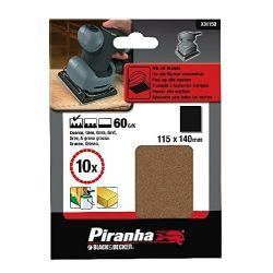 Black & Decker Piranha X31150 Pack of 10 115mm x 140mm Quarter Sheet Brown Alox Sanding Sheets 60G