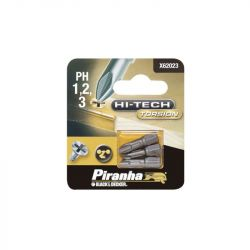 Black & Decker Piranha X62023 Pack of 3 Hi-Tech Torsion Philips Head PH1 PH2 PH3 Hex Shank Screwdriver Bits