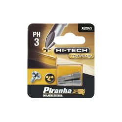 Black & Decker Piranha X62022 Pack of 2 25mm Hi-Tech Torsion Philips Head PH3 Hex Shank Screwdriver Bits