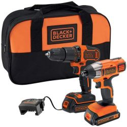 Black & Decker BCK25S2S 18V Hammer Drill & 18V Impact Driver with 2 1.5Ah Batteries, Charger & Soft Bag