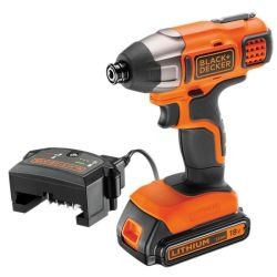 Black & Decker BDCIM18C1 18V Impact Driver with 1.5Ah Battery, Charger in Carton