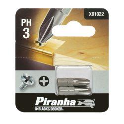 Black & Decker Piranha X61022 Pack of 2 Philips Head PH3 Hex Shank Screw Driver Bits 25mm