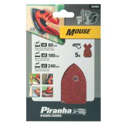 Black & Decker Piranha X31024 Pack of 5 Velcro Detail Mouse Sander Sheets 80G 180G 240G
