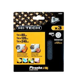 Black & Decker Piranha X39267 125mm Round Random Orbit Velcro Mesh Sanding Sheet 80G 120G 240G - Universal Fit