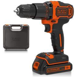 Black & Decker BCD700S1K 18V Lithium-Ion 2 Gear Hammer Drill, Charger & 1.5Ah Battery