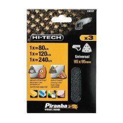 Black & Decker Piranha X39197 Pack of 3 95mm Velcro Detail Mesh Sanding Sheets 80G 120G 240G - Universal Fit